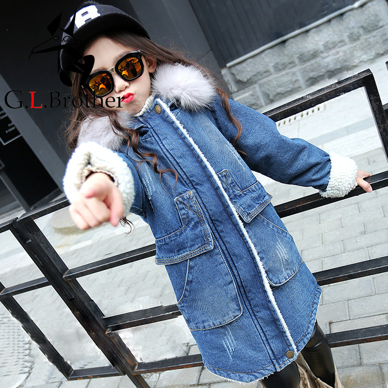 2018 New Winter Girls Clothes Denim Jacket Children Velvet Hooded Jacket Long Warm Coat Winter Baby Girl Coats Jackets JL07 dark wash long denim coat jacket with hooded