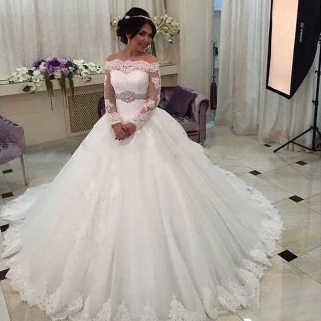 2017 foros do ombro do vestido de casamento rendas longa manga