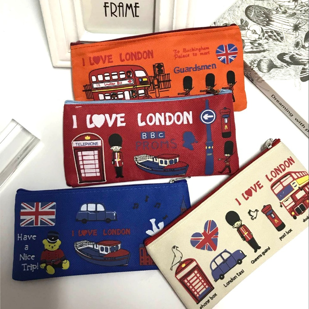London style Pencil Pen Case Cosmetic Makeup Bag Pouch Holder Women Cosmetic Bags Fresh purse zipper Coin case retro stripe pencil pen case cosmetic pouch pocket brush holder makeup bags life style pencil bag pen box