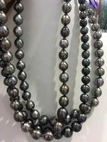 Jewelry 9 12mm Tahitian black Pearl Strand Necklace
