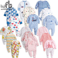 Retail 3pcs Pack 0 12months Long Sleeved Baby Infant Cartoon Footies Bodysuits For Boys Girls Jumpsuits