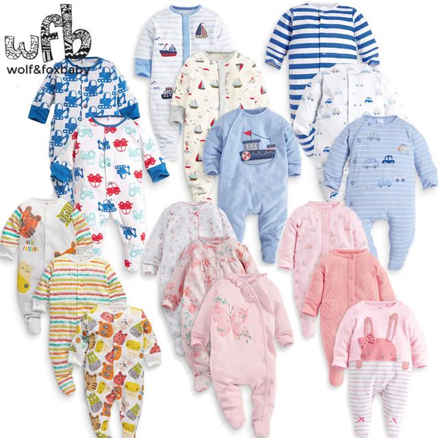 Varejo 3 unidades/pacote 0-12months longo-Sleeved Bebê dos desenhos animados Infantil footies bodysuits para meninos meninas macacões Roupas roupas de recém-nascidos