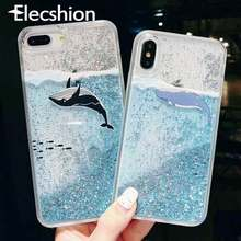 Glitter Dynamische Liquid Quicksand Case Voor Samsung Galaxy S8 S9 S10 Plus Note 9 Cartoon Ocean Whale Cover Voor iPhone 7 8 Plus XR(China)