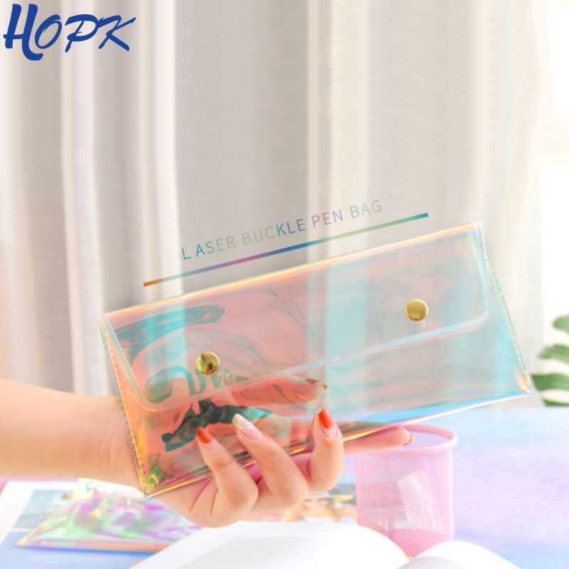 Transparent Laser Cool Pencil Case Super Shiny Laser PVC Pencils Bags High Quality Stationery Pouch Office School Supplies