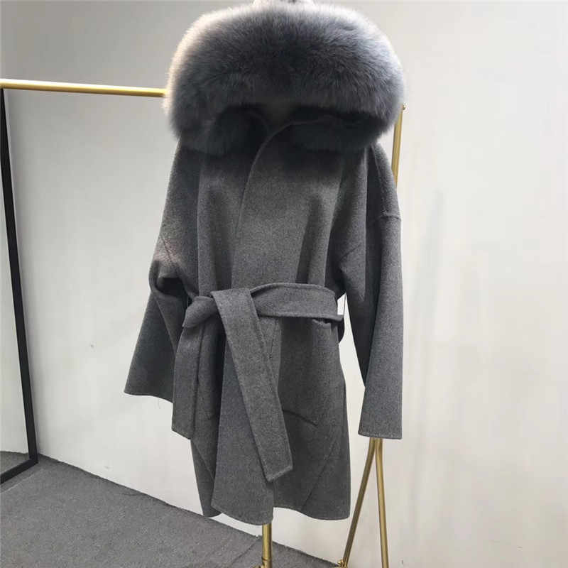 Real Fur Coat Overcoat Natural Fox Fur Coat Women Female Cashmere Wool Larger Fur Plus Size Jacket New Fashion Best Quality
