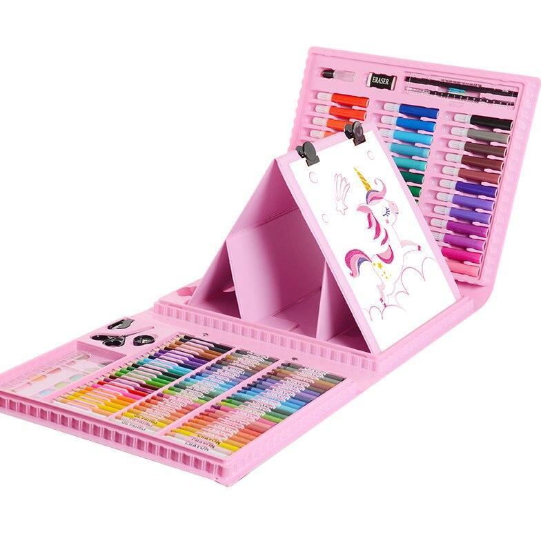 168 pièces dessin Art Set Double face chevalets peinture marqueur aquarelle pinceau Palette outils pour enfants cadeau boîte Art fournitures
