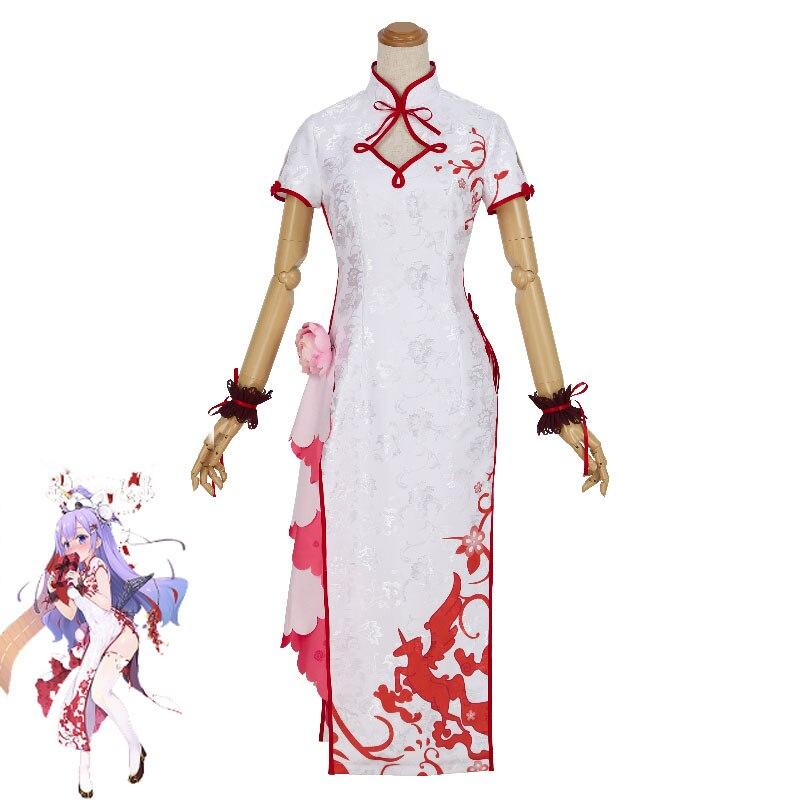 Juego Azur carril unicornio Cosplay disfraz mujer Delux brocado satén Cheongsam vestido chino Halloween carnaval uniformes