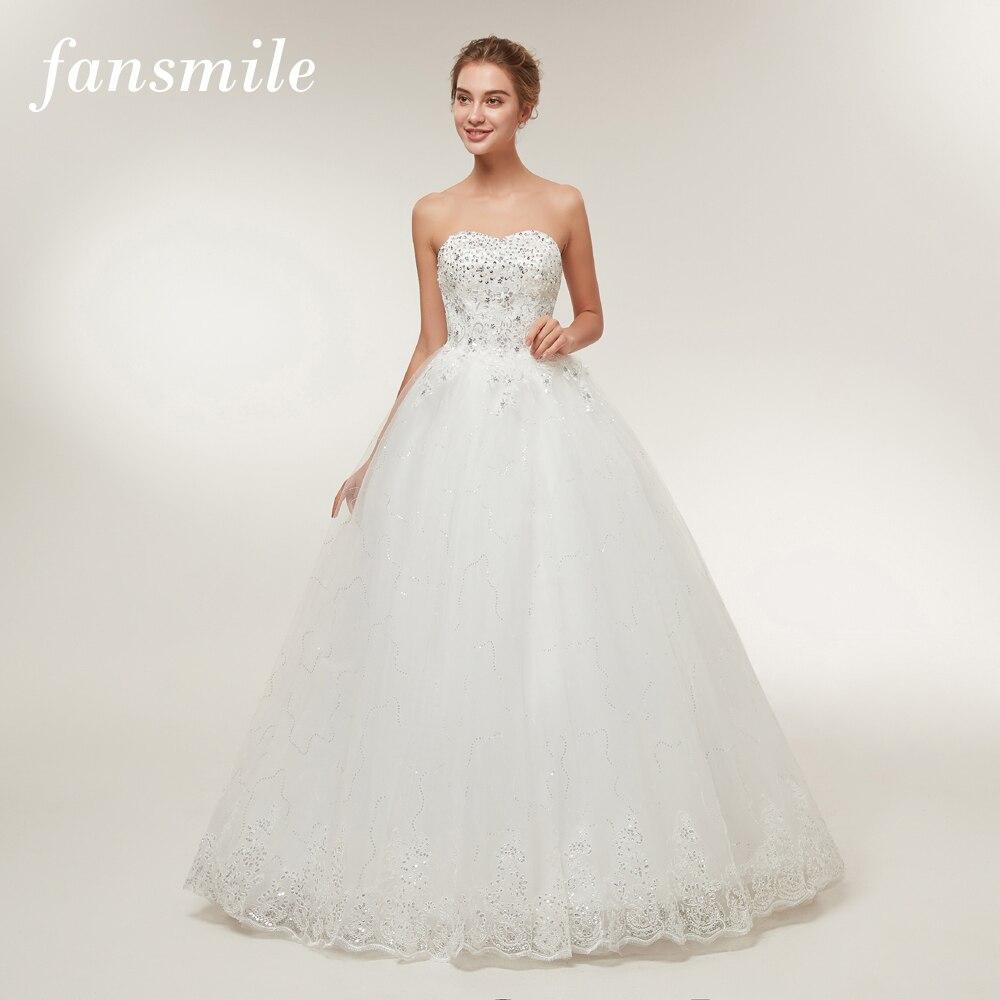 Fansmile Real Photo Plus Size Vintage Lace Wedding Dresses 2016 Princess Vestido de Noivas Ball Gown Free Shipping FSM-110F