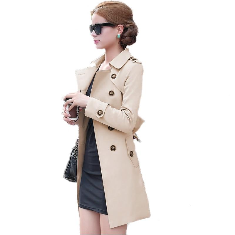 الخريف النمط البريطاني المرأة خندق معطف الأزياء سليم الصلبة مزدوجة الصدر العلاقات متوسطة طويلة معطف الرياح الإناث معطف الغبار
