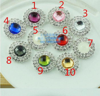 Free Shipping 10 color 100pcs DIA 20mm 2 Rows Crystal Rhinestone Embellishment Buttons Flatback DIY Party Buckles