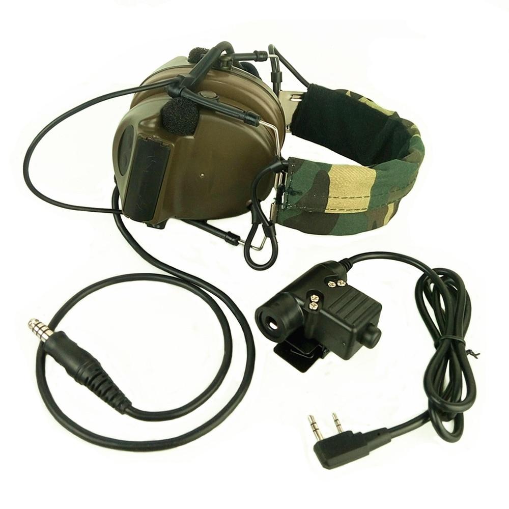 Galleria fotografica Z Tactical Headset Cuffie Con U94 PTT <font><b>Kenwood</b></font> 2 Vie Pin Riduzione Del Rumore Comtac II Auricolare Walkie Talkie Doppio PTT Verde Oliva