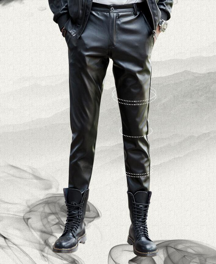 2019 new fashion leather pants male Korean version of the slim feet pants men's tight motorcycle leather pants - 2