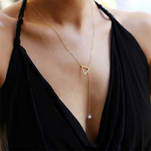 2019 Fashion Women Simple Necklace Hollow Triangle Adjustable Pearl Pendant Necklace Chain Jewelry for Women  Girl Gifts WD179 цена 2017