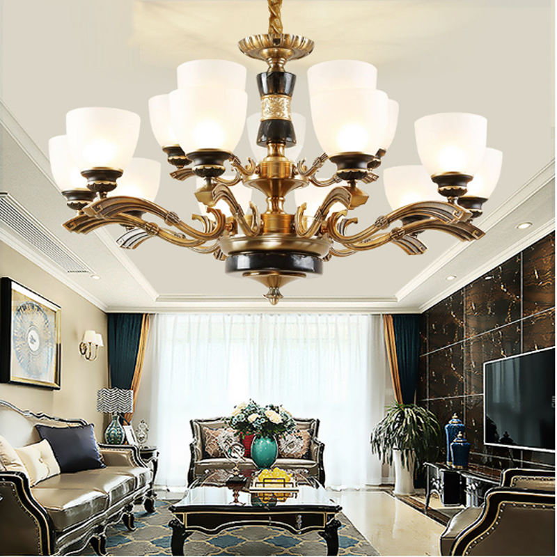 Marble Classical chandelier living room lamp modern restaurant bedroom light new Chinese hotel teahouse studio KTV Chandelier chinese style antique wooden sheepskin chandelier lamp three classical teahouse atmosphere restaurant head send bless