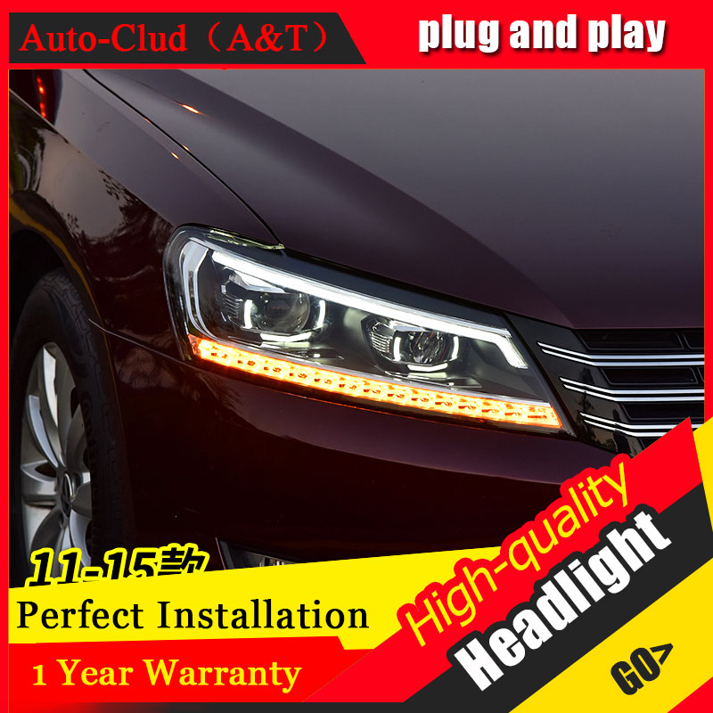 Auto Clud Car Styling For VW Passat headlights 2011-2017 For Passat head lamp led DRL front Bi-Xenon Lens Double Beam HID KIT