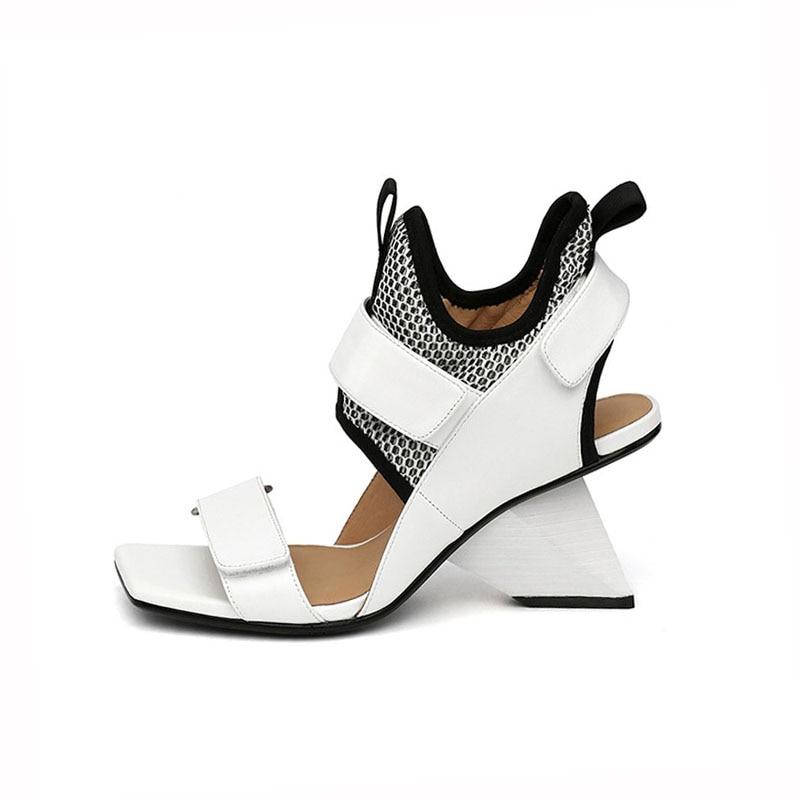 Summer Women Sandals Genuine Leather Sandalias Strange Wedge Shoes Woman High Heel Gladiator Sandals Women White HL95 MUYISEXI