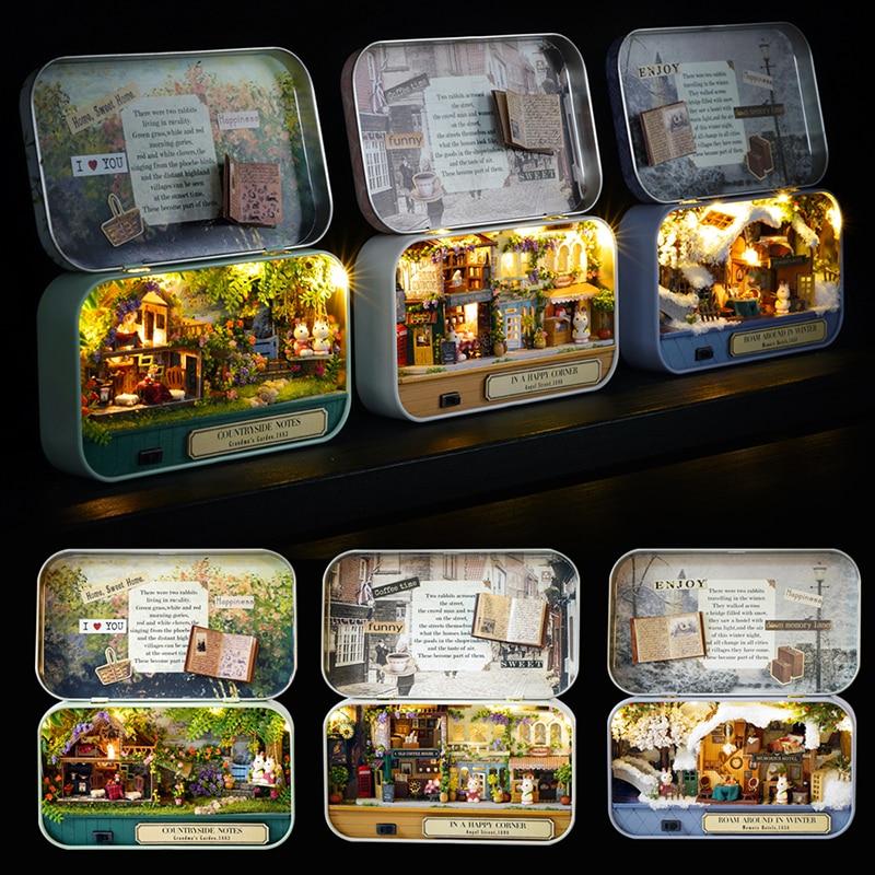 Box Theatre Dollhouse Furniture Miniature Toy DIY Miniature Doll House Furnitures LED Light Toys For Children Birthday Gift V5