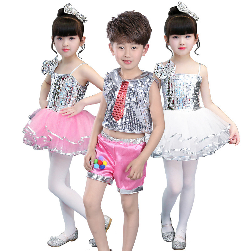 New Year performance girls' bubble yarn dress kindergarten performance stage costume sequins jazz dance dress JQ-064