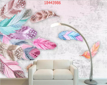 beibehang Custom size Nordic minimalist small fresh creative watercolor feather flower hand-painted TV background wallpaper