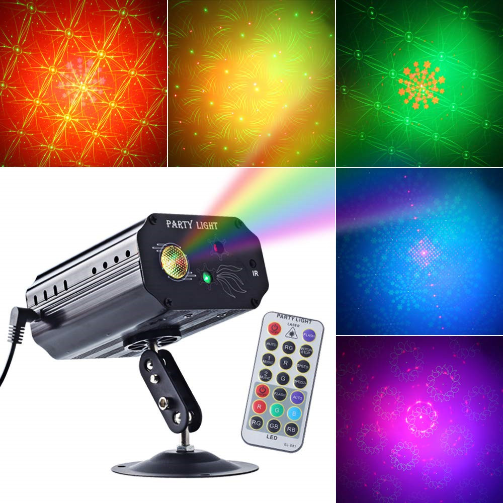 DJ Disco Stage Laser Light RGB 3 Lens Sound Activated Led Projector For Christmas Decoration Gift Birthday Wedding Party Lights
