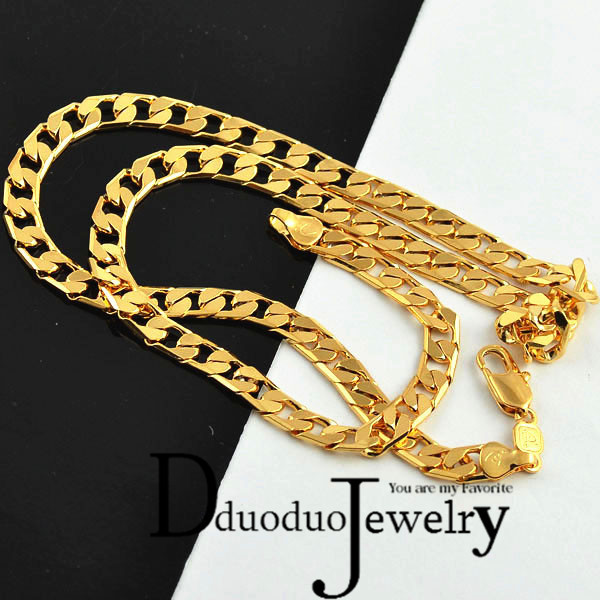 Real Mens GoldColor Necklace Chain fashion wedding Jewelry gift