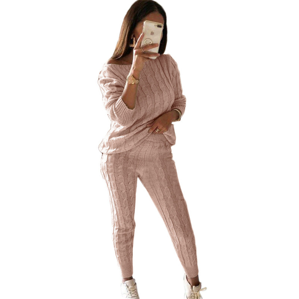 New Autumn Lady Tracksuit Two Piece Set Women Top And Pants Knitted Suit O Neck Knit Set Women Outwear Winter Sweatsuit