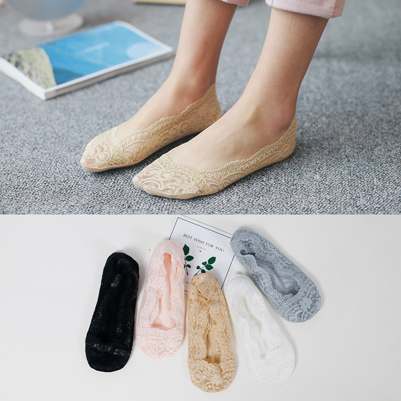 1pairs/lot summer Boat   Socks   women Lace hollowed out Non-slip kawayi sexy Lovely Leisure and comfort princess   Socks