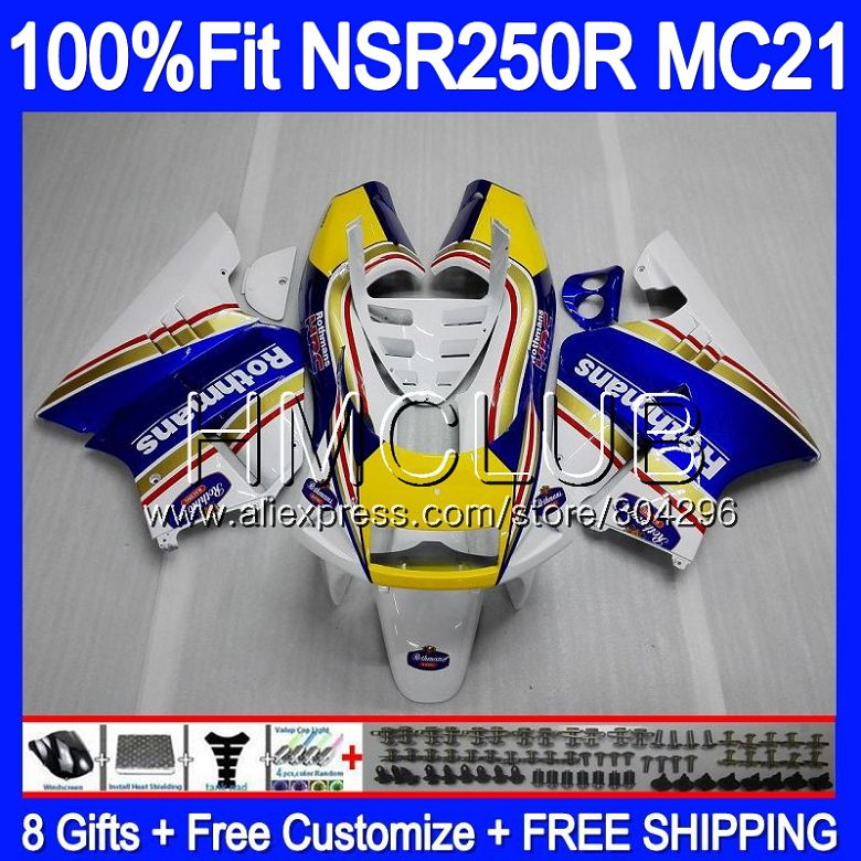 Injection For HONDA <font><b>NSR</b></font> <font><b>250</b></font> R MC21 PGM3 NSR250R 90 91 92 93 94HM.0 NSR250 R NSR250RR 1990 1991 1992 1993 Fairings Rothmans Blue image