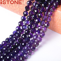 ISTONE 7MM Natural Synthetic Amethyst Hand Cut Faceted Beads Stone 16 Inch Pick Size Strand For