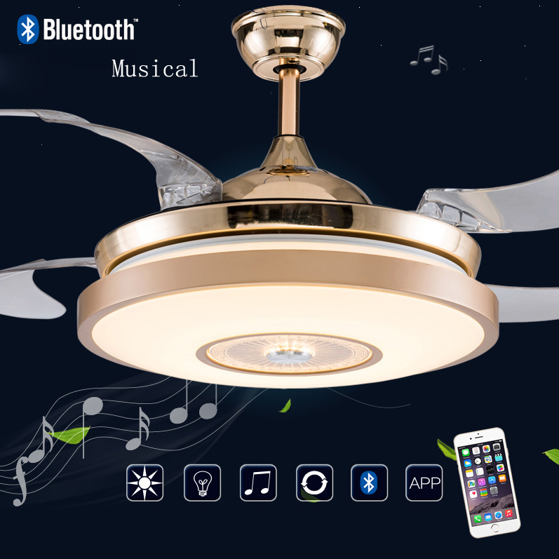 Us 2792 20 Offled Bluetooth Muzyczne Ze Stali Nierdzewnej Akrylowe Wentylator Wentylator Sufitowy Led Lampy Sufitowe Oświetlenie Sufitowe Led