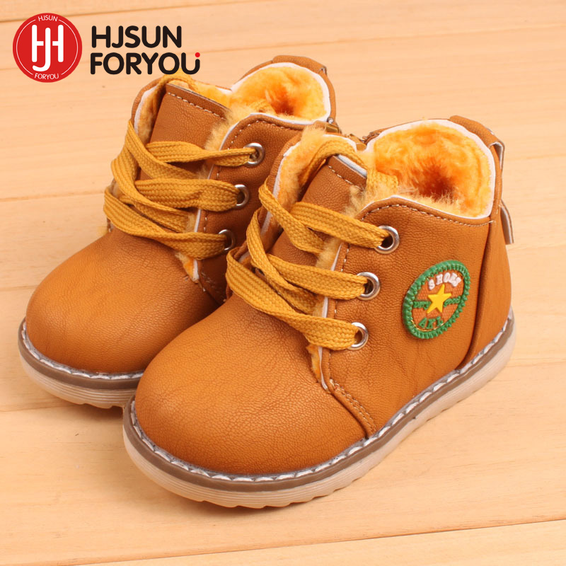 2018 new childrens snow boots warm shoes for boys and girls thick cotton-padded ace-up boots comfort baby shoes Size 21-30