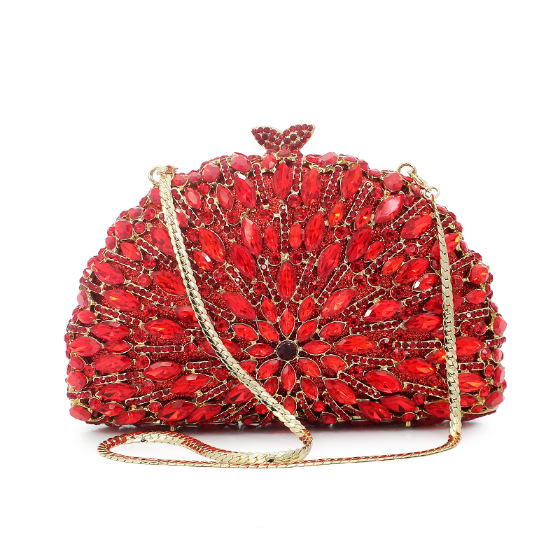 New Women Crystal Luxury Evening Handbag Red Peacock Shape Clutch Bag for Wedding Party Diamonds Chains(8752A-R) new women crystal luxury evening handbag clutch bag for wedding party diamonds lemon yellow with gold chain b1034 g