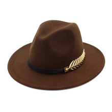 Vintage Winter Elegant Fedora Hats For Women Felt Wide Brim Wool Hat With Belt Autumn Men Trilby Jazz Cap New Fashion Warm Caps