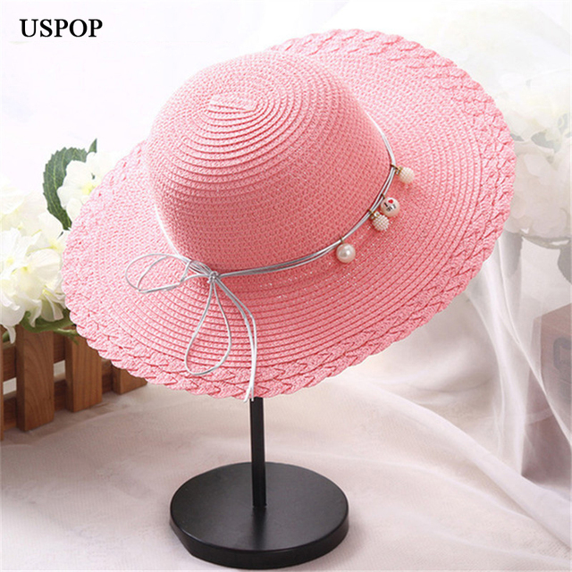 0d3f1a47fa2 2018 Fashion Cute girl straw sun hats Round top hand made pearl sun hat  wide brim hats for children girl beach hat cap