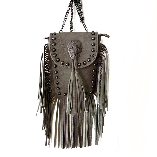 Bohemian Skull Fringe Shoulder Bag