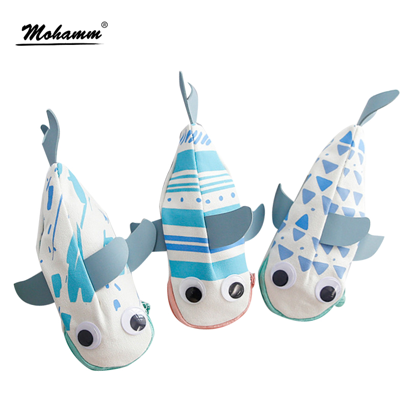 1pcs/lot Creative Cute Cartoon Canvas Pencil Case Lovely Whale Pen Bag For Kids Gift School Supplies Kawaii Stationery