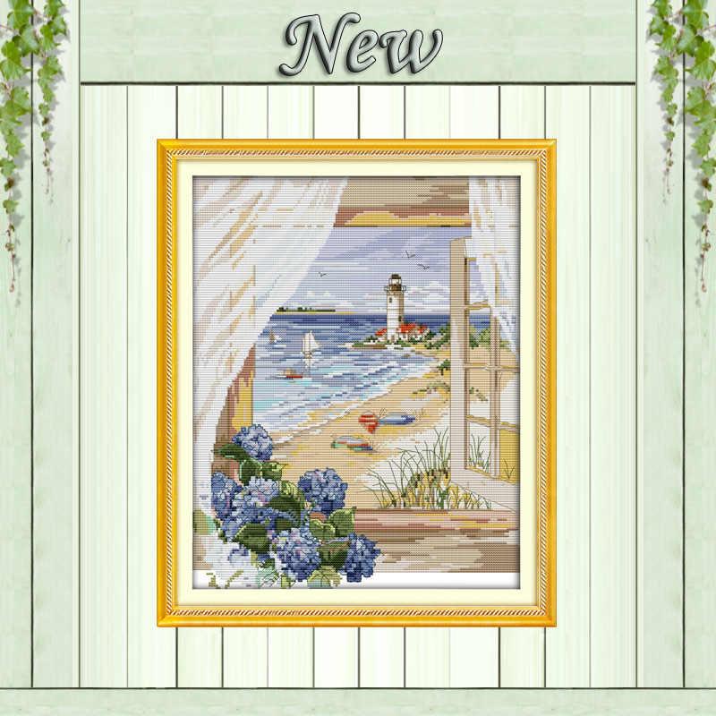Zee view buiten het raam strand bloemen Geteld print op canvas DMC 14CT 11CT Kruissteek handwerkpakketten Borduurwerk Sets DIY