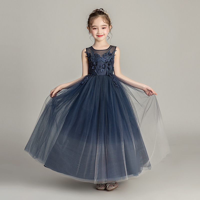 Summer New   Girls   Tulle Gown   Flower     Girl     Dress   For Weddings Fashion O-neck Sleeveless Lace   Dress   Big   Girls   Long Blue Ball Gown