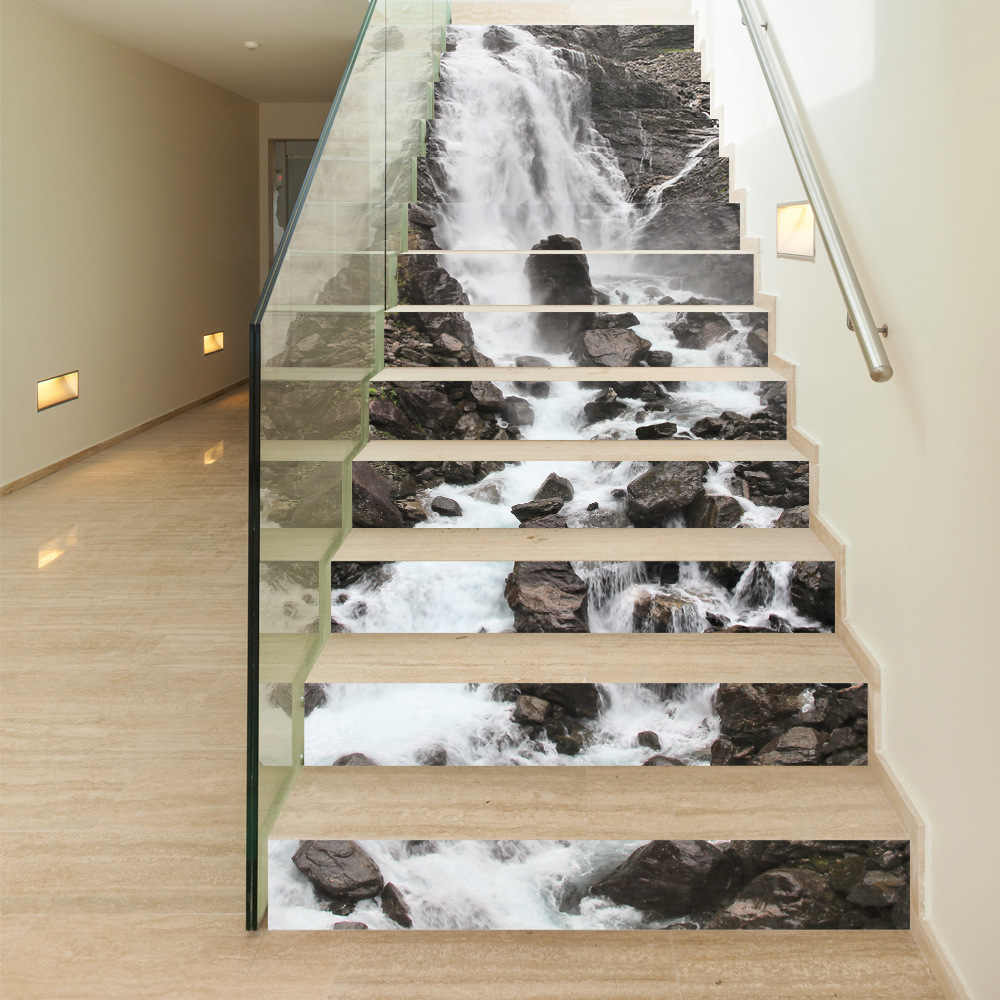 Funlife Fashion home 13pcs landscape wall stickers waterfall porch living room bedroom black and white old retro stairs stickers