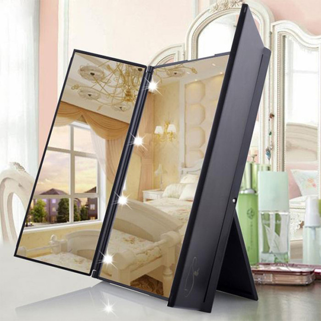 LED Lights Makeup Mirror 3 Folding 8 Lamp Cosmetic Tabletop Makeup Vanity  Mirror Adjustable Countertop Light