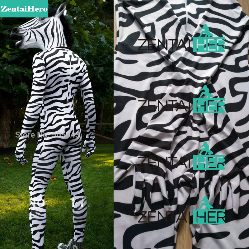 Free Shipping DHL Zebra Headless Suit with Head Horse Mask Zentai Unitard Lycra Spandex Skin Catsuit Party Halloween Costumes