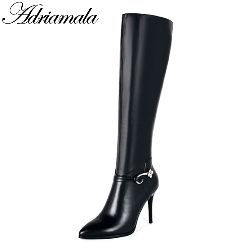 2017 Leather Knee High Boots For Women Autumn Winter Genuine Leather Knight Pointed Toe Sexy High Heels Boots Women Adriamala 2015 natural genuine leather boots sexy vintage heels platform warm winter long boots snow knee high knight boots for women