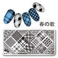 Nail Art Sello Plantilla de Diseño Placa de la Imagen 12*6 cm Rectángulo Elegante Chequeado L010