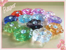 200PCS Botones FLOWERS ACRYLIC button SHIRT CRYSTAL sewing buttons clothes accessories crafts scrapbooking