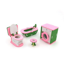 1/12 Dollhouse Miniature Furniture Wooden Bathroom Pretend Furniture Toys Bathtub Washing Machine Set for Doll House Decor(China)