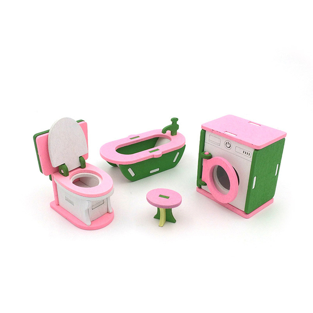 1/12 Dollhouse Miniature Furniture Wooden Bathroom Pretend Furniture Toys Bathtub Washing Machine Set for Doll House Decor