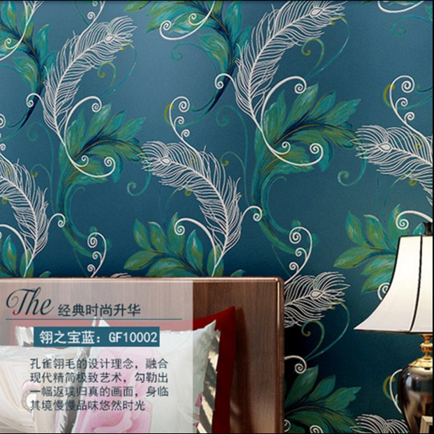 hot sale 2017 blue european-style TV wall paper Southeast Asia peacock feathers thickening stereoscopic 3d non-woven wallpaper tt tf ths 02b hybrid style black ver convoy asia exclusive