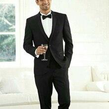 Peaked Lapel Black Mens Wedding Suits Man Blazers Groom Tuxedos 3 Piece Coat Pants Vest Costume Homme Prom Wear Terno Masculino цена