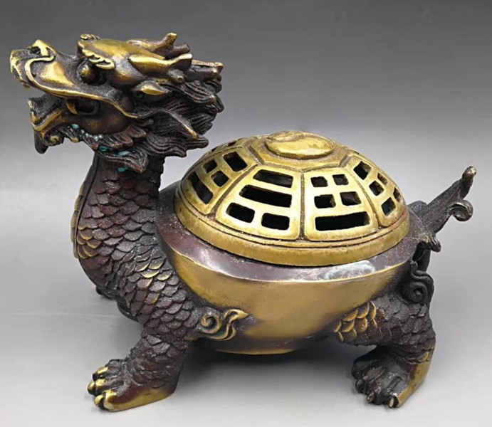 Statue de brûleur d'encens de tortue de dragon en laiton sculpté à la main chinoise-in Statues et sculptures from Maison & Animalerie    1