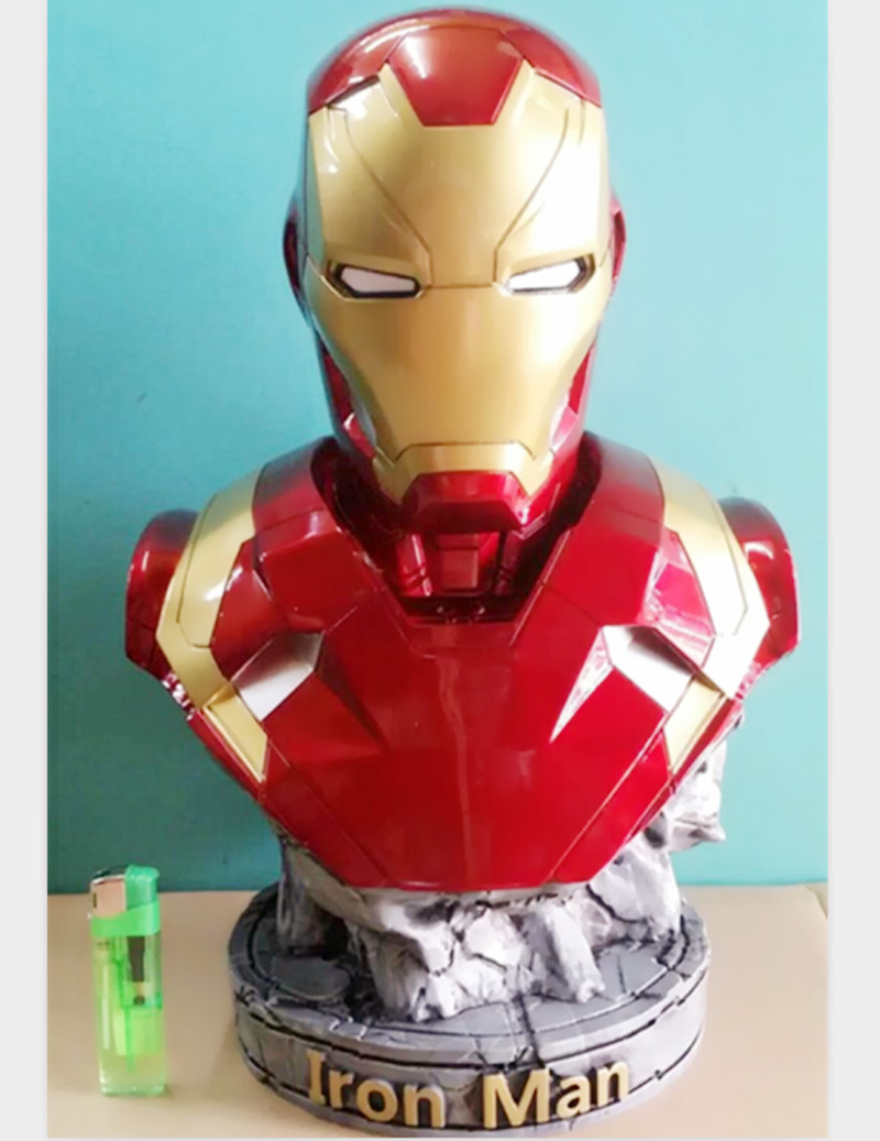 Avengers Captain America 3: Civil War IRON MAN 1:2 Bust MK46 Half-Length Photo Or Portrait The Statue Resin Hand Model WU571 1 6 scale male head sculpts model toys downey jr iron man 3 captain america civil war tony with neck sets mk45 model collecti f